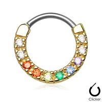 Ten Paved Gem Single Line Gold IP Septum Clicker