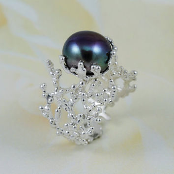 black pearl Ring,Statement Ring, silver black pearl Ring, unique reef ring