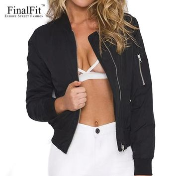 FinalFit Black Bomber Jacket Women, Spring&Autumn Light Flight Jacket Coat
