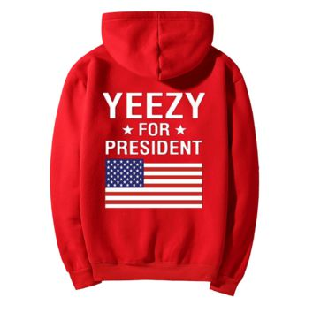 """YEEZY""Fashion loose leisure hooded print sweater Red"