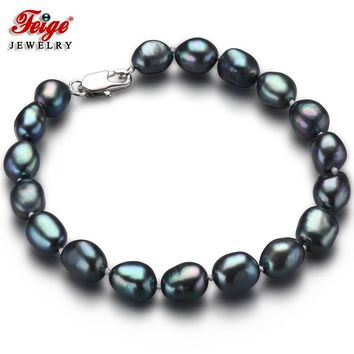 Vintage Baroque Black Pearl Bracelet for Women 7-8MM Freshwater Pearls Strand Bracelets Party Jewelry Gifts Dropshipping FEIGE