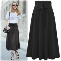High Waist Draw String Slim Pleated Pure Color Long Skirt