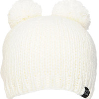 Powder Room White Double Pom Beanie