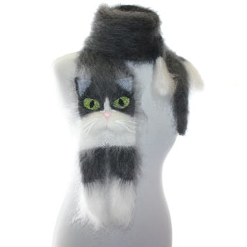 Tuxedo Cat / Knitted Scarf / Fuzzy Soft Scarf / Dark gray white сat / cat scarf / knitted cat scarf / Knit scarf / animal scarf