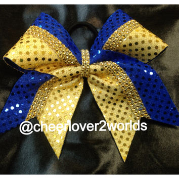 1 Royal Blue & Gold Sparkle Rhinestone Cheer Cheerleading Dance Bow Ribbon