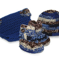Blue Camo baby boy Hat Booties and Matching Diaper Cover newborn photo prop 0 - 3 months