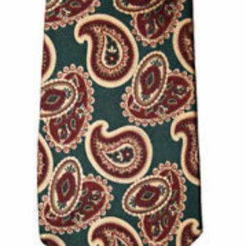 Vintage Nordstom Paisley Green Gold Maroon Silk Necktie Menswear Tie Made in USA
