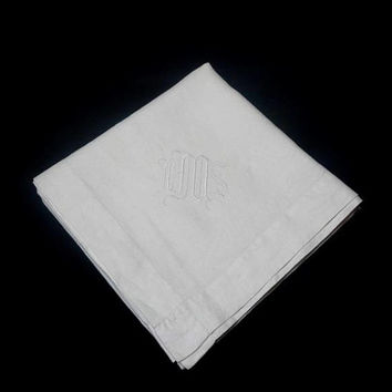 "1960s White Linen Tablecloth for Card or Bridge Table Monogram ""ISM,"" Hand Embroidery, 40 x 41 Inches, Vintage Linens, Tablecloths, Upcycle"
