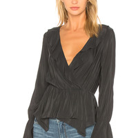 BCBGeneration Handkerchief Hem Surplice Top In Black in Black | REVOLVE