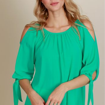 Playful Romance Tie Blouse Ocean Mint