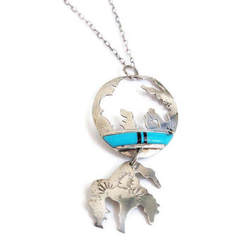Native American Necklace Turquoise Inlaid Black Onyx Cutout Horse and Rider , Native American Jewelry, NA Necklace, Sterling Native Jewelry