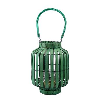 "20"" Tropicalia Green Cabana Tiki Bar Votive Candle Holder Lantern"