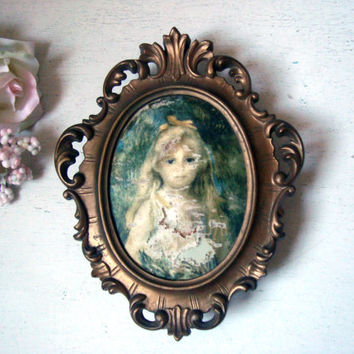 Vintage Princess Art Music Box Ornate Frame, Art on Cloth Print of Girl, Gold Ornate Frame,  Princess Art Gesch, Made in Western Germany