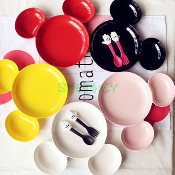 New Melamine Baby Infant Cute mouse shape Feeding Plate Fruit snack Dishes Kids White Black Red Color Child kids Tableware Set