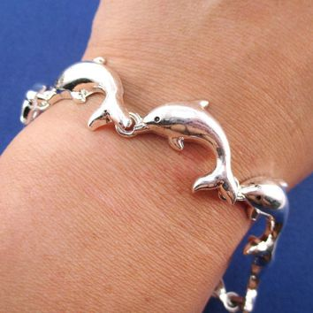 A Pod of Dolphins Shaped Charm Bracelet with Magnetic Clasp
