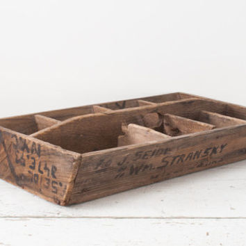 Antique Wooden Tool Carrier Primitive Divided Box with Writing - Vintage Storage - Tote Caddy - Rustic Farmhouse
