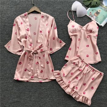 Women's Pajamas Set Sleep Lounge Women Pajamas Sets with Chest Pad Summer Satin Sleepwear Women Casual Pyjama Femme Indoor Cloth