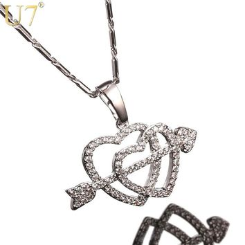 U7 Cupid's Arrow Heart Necklaces & Pendants 925 Silver Color Cubic Zirconia The Arrow Of Love Gifts For Women Jewelry 2017 P1026