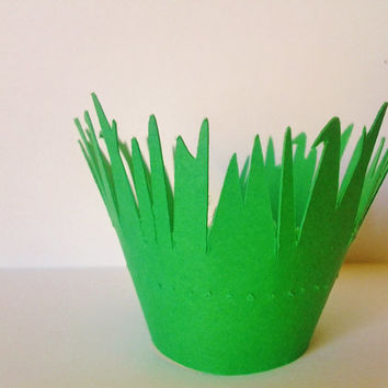 grass cupcake, cupcake wrapper, cupcake liner, tower, stand, spring party decor, baby shower, spring birthday, end of school, class party
