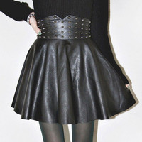 Black Hip Pleated Rivet Leather Skater Skirt