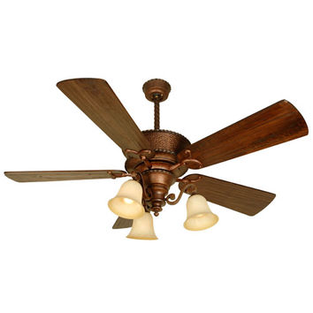 Craftmade K10751 Riata Burnt Sienna Ceiling Fan with 54-Inch Premier Distressed Walnut Blades and Light Kit