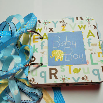 Baby Boy Mini Scrapbook Album, Baby Boy Scrapbook, Baby Boy photo Album, Baby Boy Brag Book, Baby Boy Mini Album, chipboard Album
