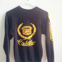 vintage black cadillac crewneck sweater / small
