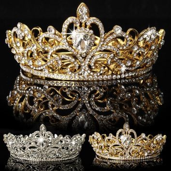 Women's Crystal Rhinestone Crown Tiara Wedding Pageant Bridal Diamante Headpiece