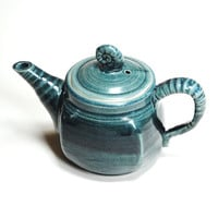 Ready to ship,Teal pottery teapot,gift her under 100,Ceramic tea maker,wheel thrown teapot,tea for two,pottery teapot teal,turquoise teapot