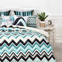 Madart Inc. Turquoise Black White Chevron Duvet Cover