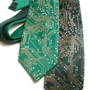 Circuit Board Men's Necktie - Metallic Copper and Silver Ink on Green or Black Necktie