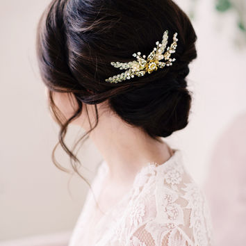 Gold beaded bridal hair comb - style 2005