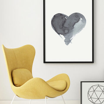 Watercolor Painting Art Abstract Painting Original Art Grey Giclee Minimal Art Ink Heart Kunst Bild Monochromatic Art Geometric PRINTABLE