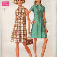 Simplicity 8140 Sewing Pattern 60s A-Line Dress Double Breasted Mod Retro Fashion Sleeveless Coat Dress Casual Bust 34
