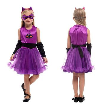Kids Girl Kigurumi Kitty Catwoman Cosplay Children Halloween Cat animal Costume Carnival Purim Masquerade Stage play party dress