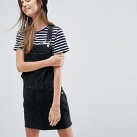 ASOS Denim Overall Dress in Washed Black at asos.com