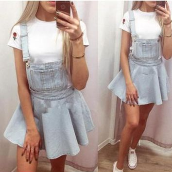 New Women Light Blue Draped Shoulder-Strap Suspender Skirt Mini Dress