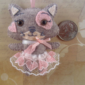Pink Kitty Feltie - Cat Key Chain - Kitten Ornament - Kawaii Kitty - Gray and Pink