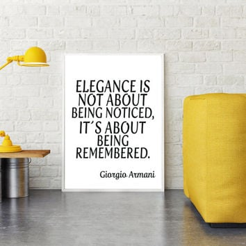 Giorgio Armani Elegance Quote. Typographic Print. Modern Art Print Fashionista Wall Decor. Elegant Home Office Decor Inspirational Art Print