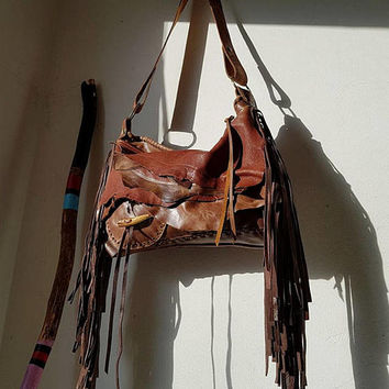 Brown distressed leather bag few tones fringe fringed hobo tribal bohemian boho army purse sweet smoke free people  bag moroccan