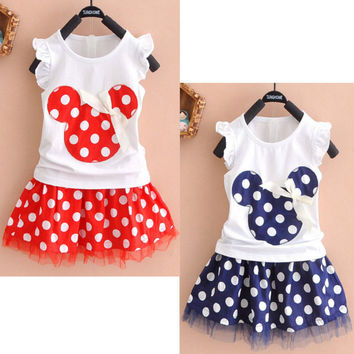 Deals Blast 2016 Minnie Mouse Princess Birthday Party Outfit Girls Skirt Red Dot Kids Baby Girls Clothing