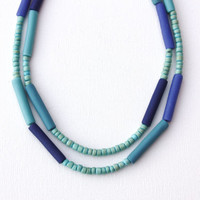Purple teal necklace, double strand, polymer clay, tube beads, wood