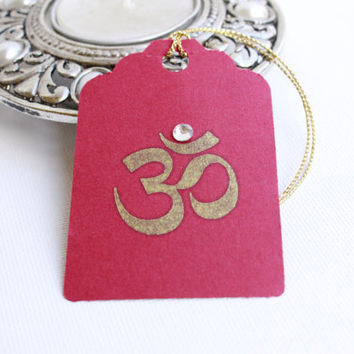 12 Gift/ Favor Tags with OM -  Showers, Parties, Weddings, Diwali