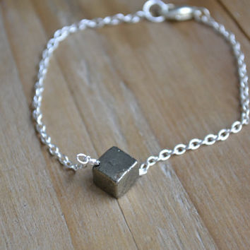 silver pyrite bracelet // all that glitters