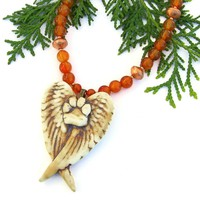 Dog Angel Handmade Necklace, Paw Print Wings Carnelian Gemstone Pet Jewelry