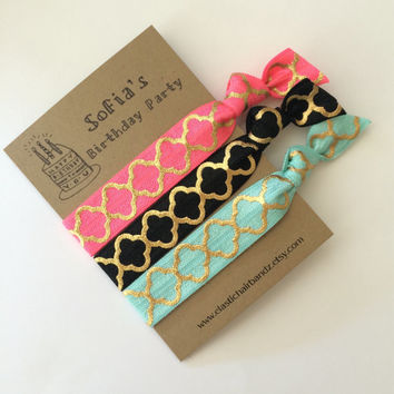 Custom Birthday Party Favors - Gifts - Hair Ties - Quarter Foil Print