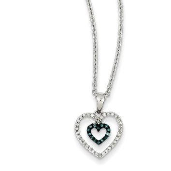 Blue & White Diamond 13mm Double Open Heart Sterling Silver Necklace