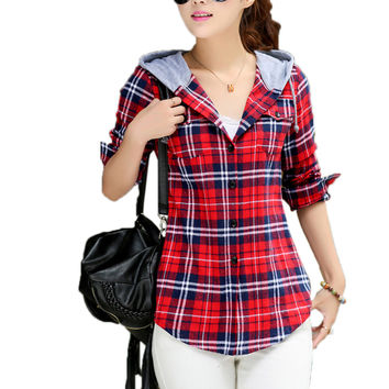 2016 Spring Autumn Women Flannel Plaid Shirts New Fashion Women Long Sleeve Slim Causal Hoody Tops Blouse