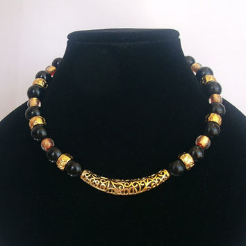 Black and gold colored choker for women, black pearls and faux gold necklace