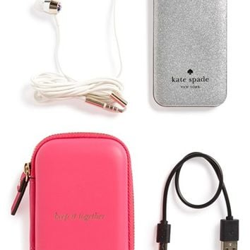 kate spade new york glitter ear buds & portable charger set | Nordstrom